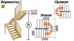 Лестница для дачи К-033м