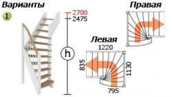 Лестницы из бука ЛС-91м