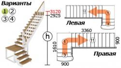 Лестницы из бука К-002м