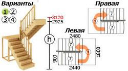 Лестница на второй этаж К-004м
