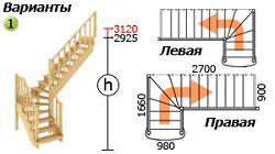 Лестница для загородного дома К-021м