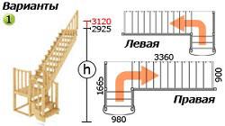 Лестница для загородного дома К-022м