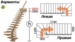 Лестница из лиственницы К-008м
