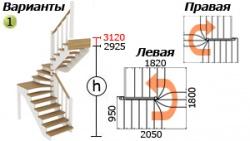 Лестницы из бука К-033м